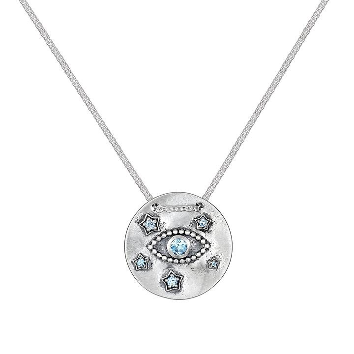 Threaded Eye Star Coin Necklace