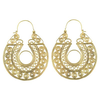 Brass Dijon Wide Circle w/Spirals