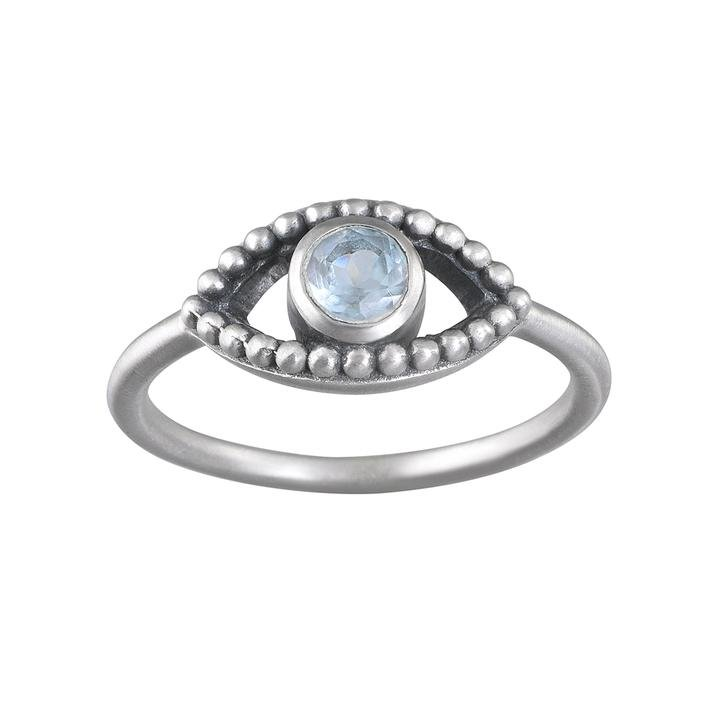 Fancy Blue Topaz Eye Ring