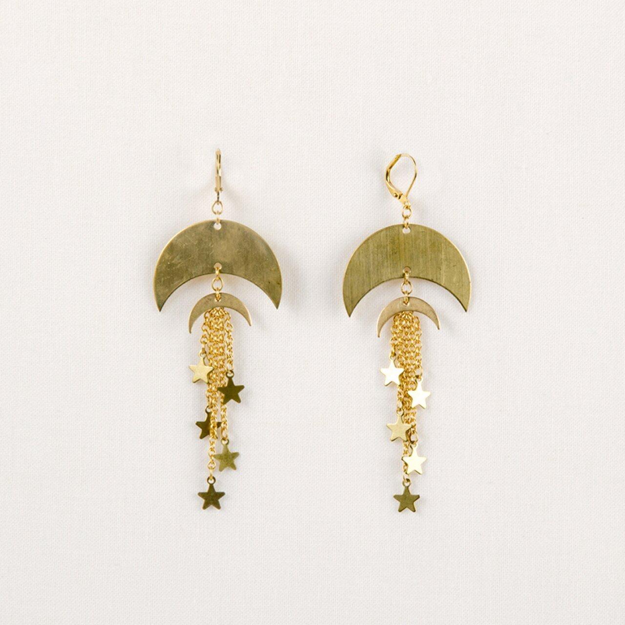 Dbl Moon & Star Earring