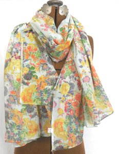 Colorful Flower Print Scarf