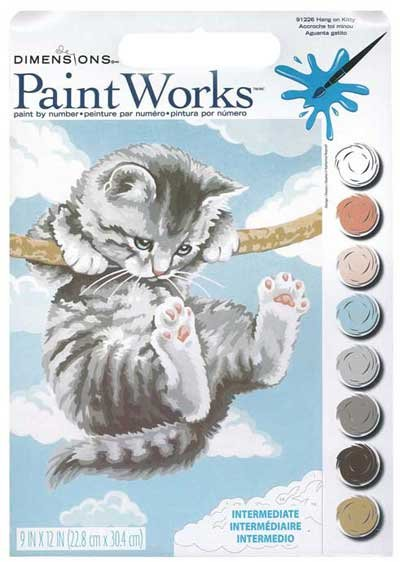 Paint Works Paint By Number Kit 9X12-Hang On Kitty