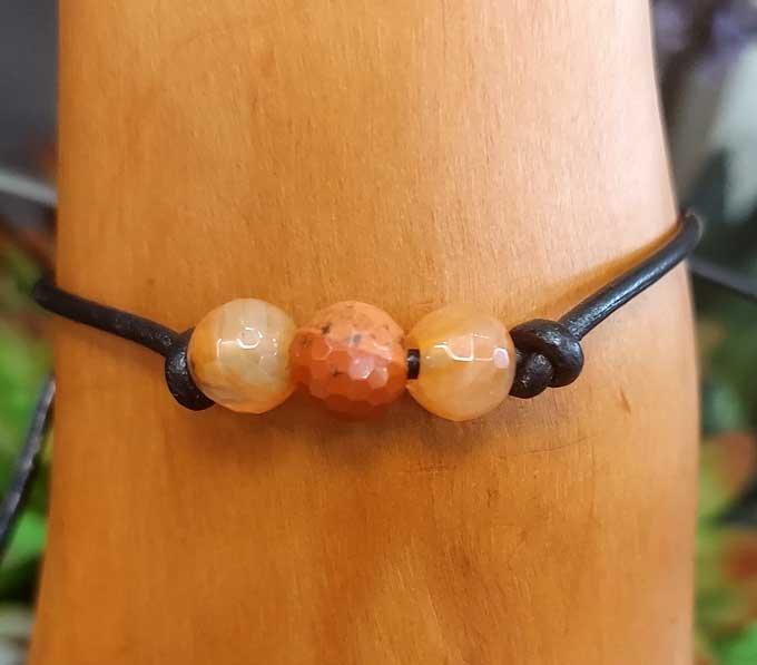 Carnelian Leather Bracelet