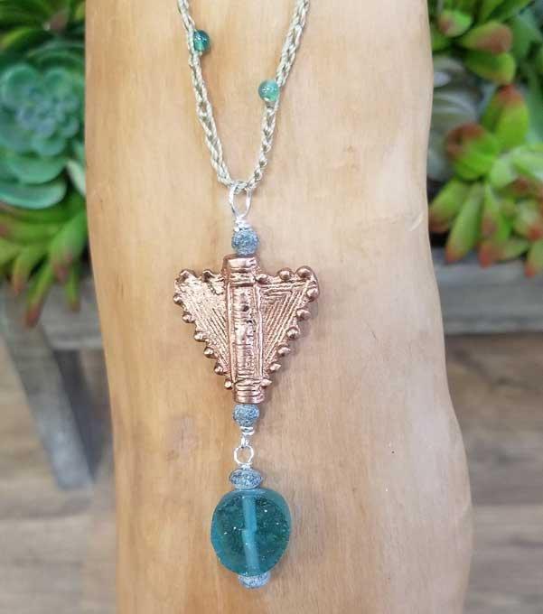 Copper & Ancient Roman Glass Necklace