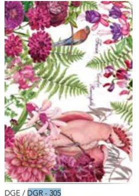 Calambour Fuchsia Tropical Bird & Plants Rice Paper - DGR305
