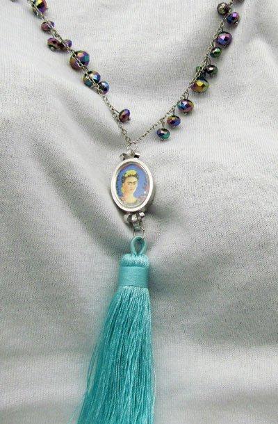 Frida Kahlo Vintage Watch Face Necklace Blue