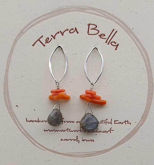 Gray Moonstone & Branch Coral Earrings