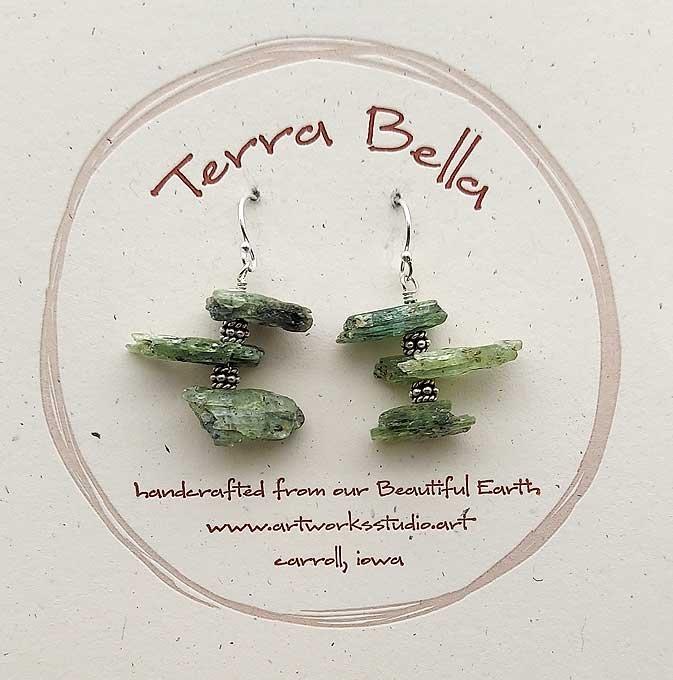 Green Kyanite & Bali Silver Earrings