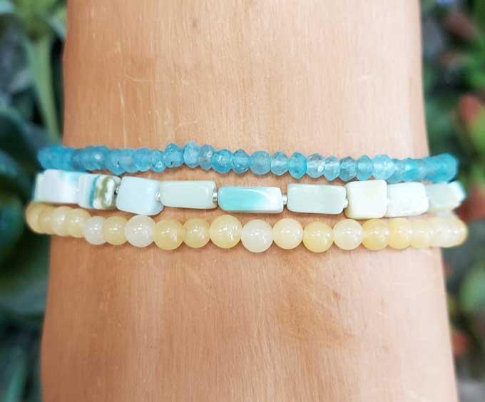 Blue Apatite, Opal, Calcite Wrap Bracelet