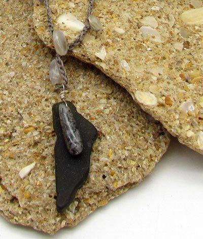 Grey Moonstone & Beach Glass Pendant Necklace