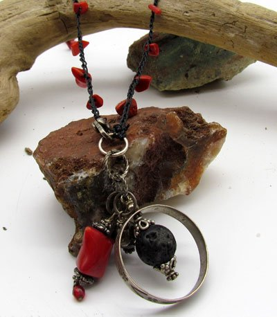Red Bamboo Coral & Vintage Sterling Necklace