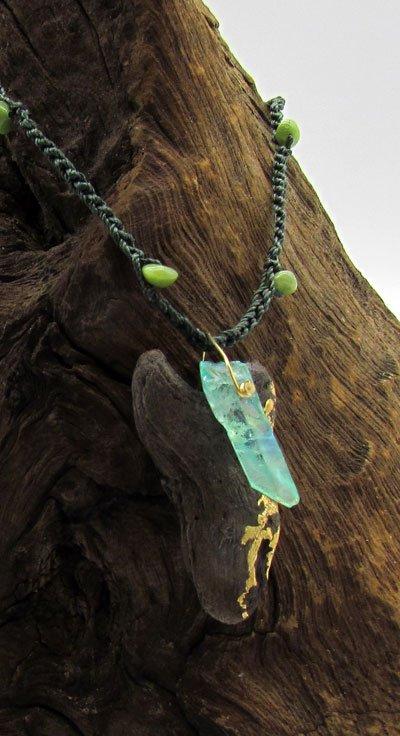 Driftwood & Seafoam Aura Quartz Point Necklace