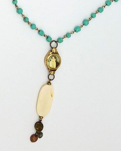 Mermaid Vintage Watch Face Necklace Aqua