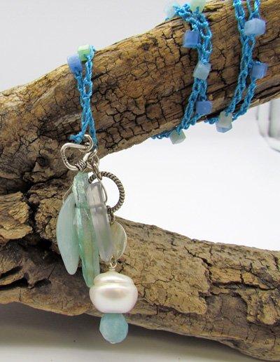 Larimar, Pearl & Quartz Pendant Necklace
