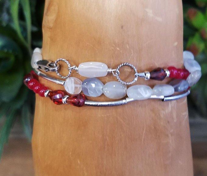 Moonstone & Red Jade Wrap Bracelet