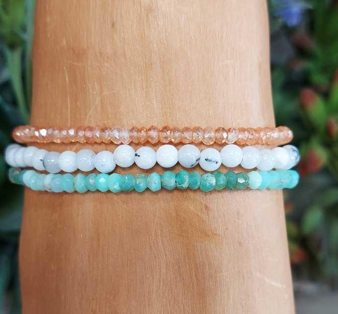 Chrysoprase, Moonstone, Mystic Quartz Wrap Bracelet