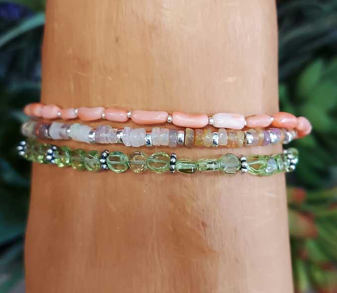 Peridot, Ethiopian Opal, Bamboo Coral Wrap Bracelet