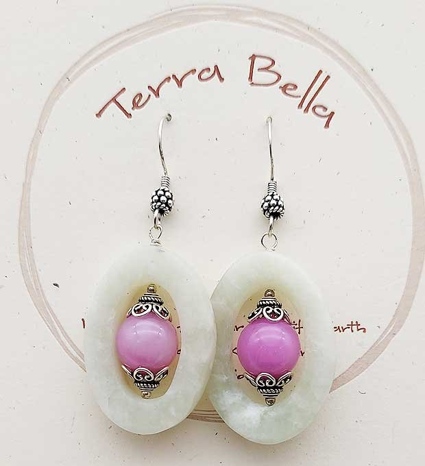 Fuchsia & Peace Jade Earrings
