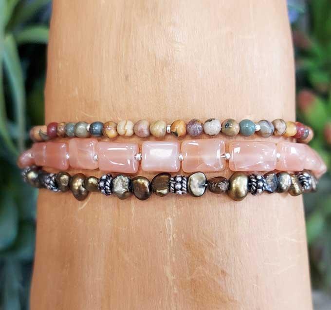 Peach Moonstone, Pearl, Red Creek Jasper Wrap Bracelet