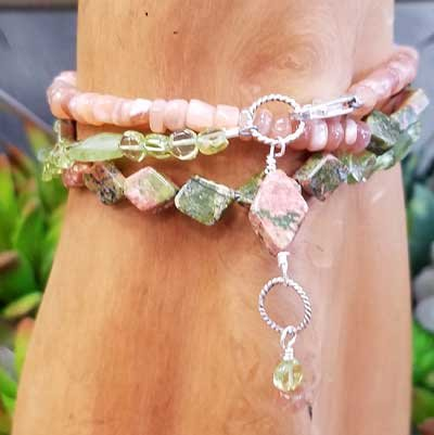 Peridot, Unakite, Peach Moonstone Wrap Bracelet