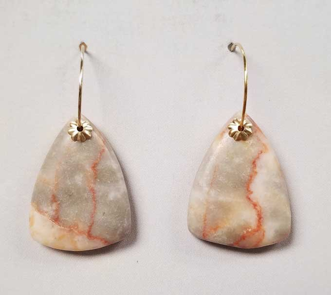 Red Veined Marble Earrings