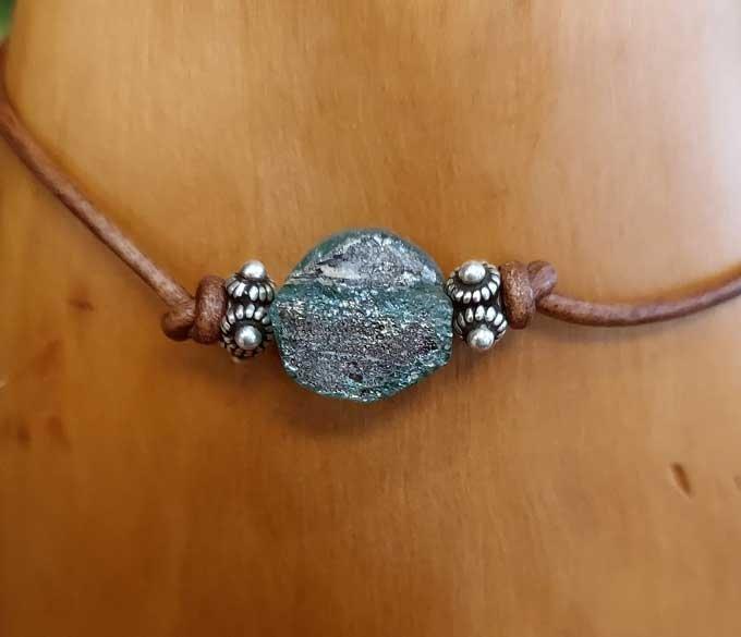 Roman Glass Leather Bracelet #2
