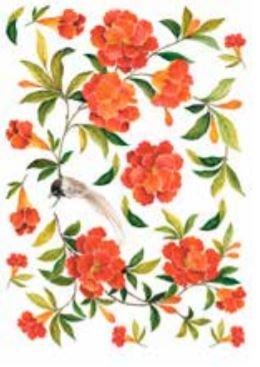 Calambour Orange Floral Rice Paper Decoupage RP67