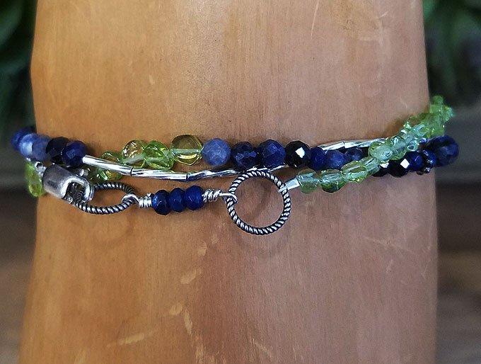 Sapphire &  Peridot Wrap Bracelet