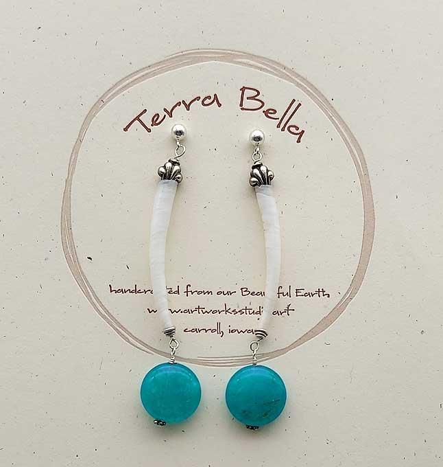 Teal Quartz & Tusk Shell Earrings