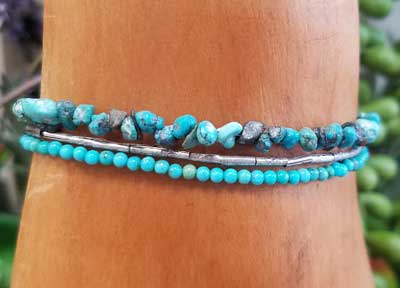 Turquoise & Hill Tribe Silver Wrap Bracelet