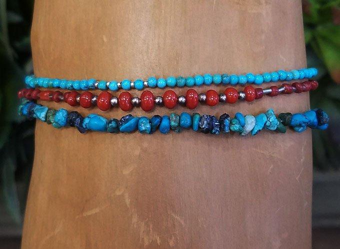 Turquoise & Coral Wrap Bracelet