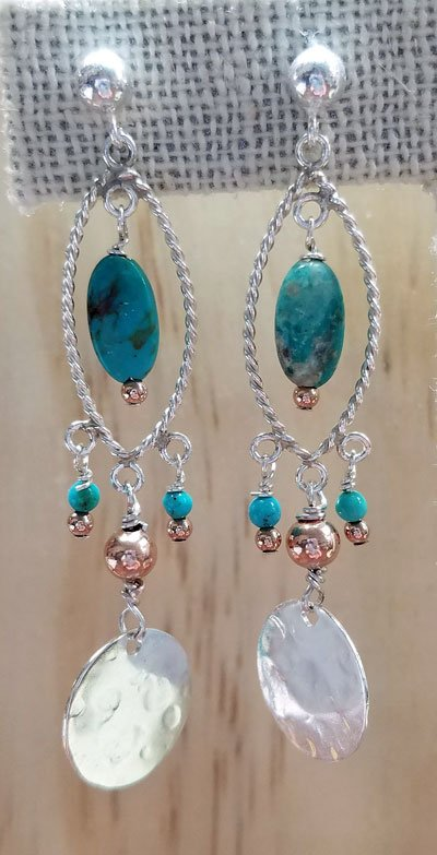 Turquoise Earrings with Rose Gold Accents