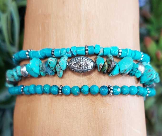Turquoise, Bali & Hill Tribe Silver Wrap Bracelet