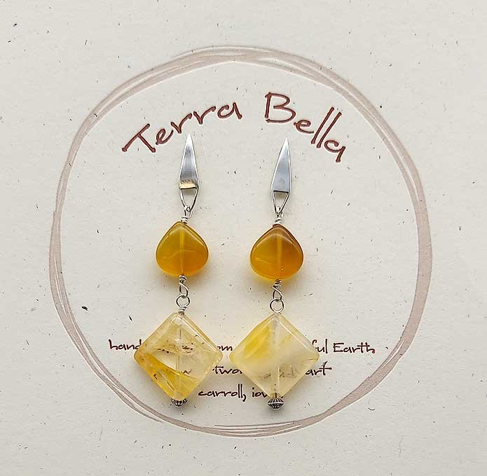 Yellow Chalcedony & Rutilated Quartz Earrings
