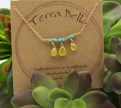 Turquoise & Yellow Sapphire Necklace