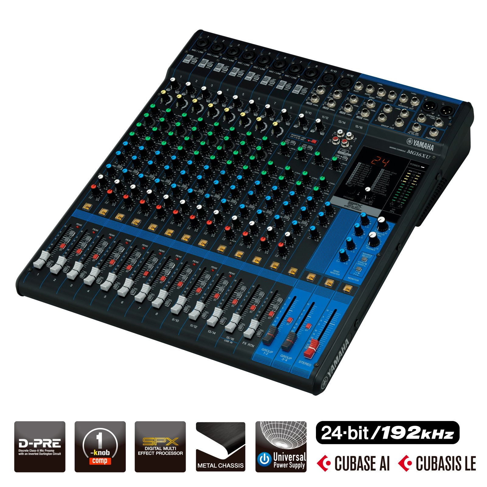 Yamaha MG16XU 16-Input Mixer with Built-In FX & 2-In/2-Out USB Interface