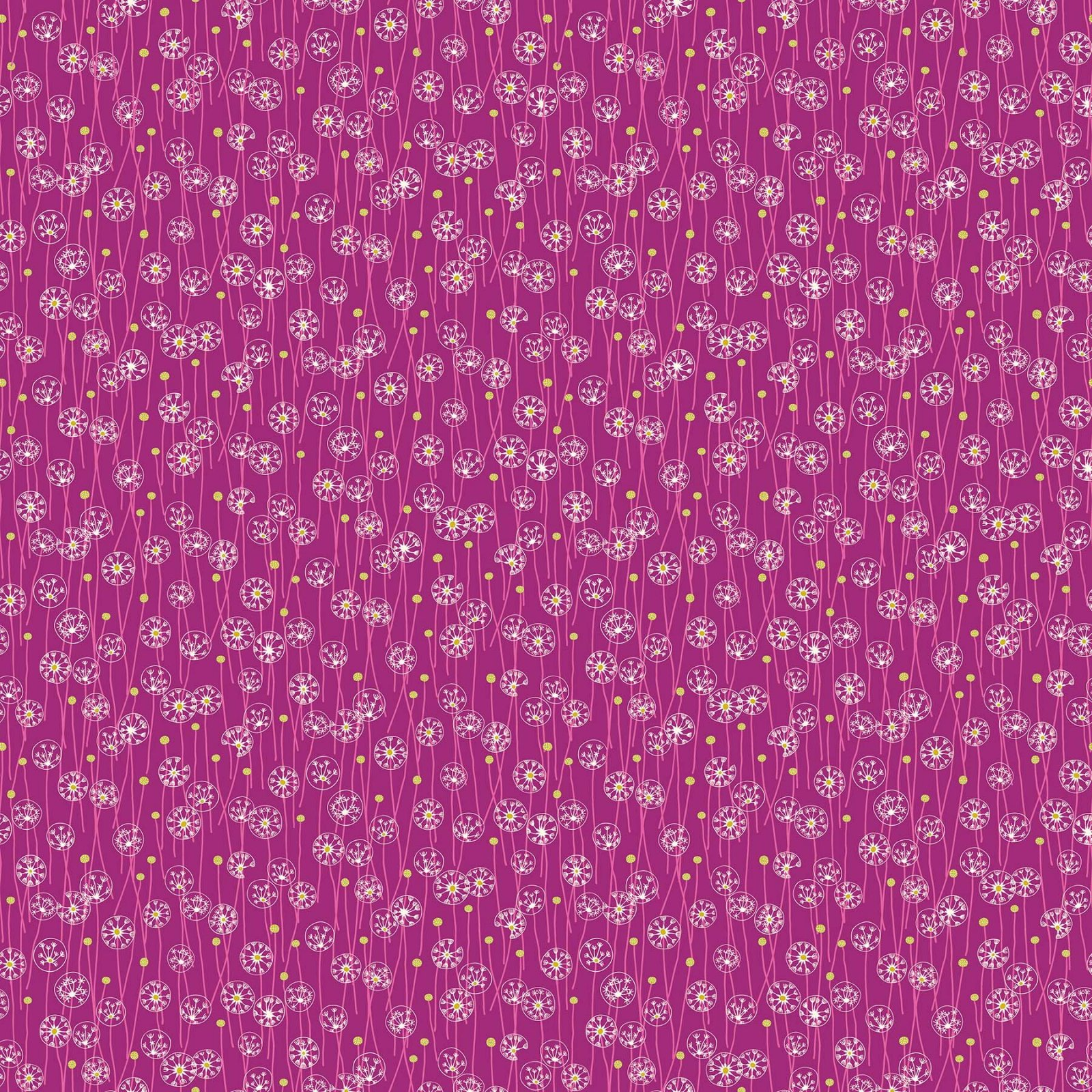 FIGO Fabrics Mountain Meadow DANDELION FIELD (Purple)