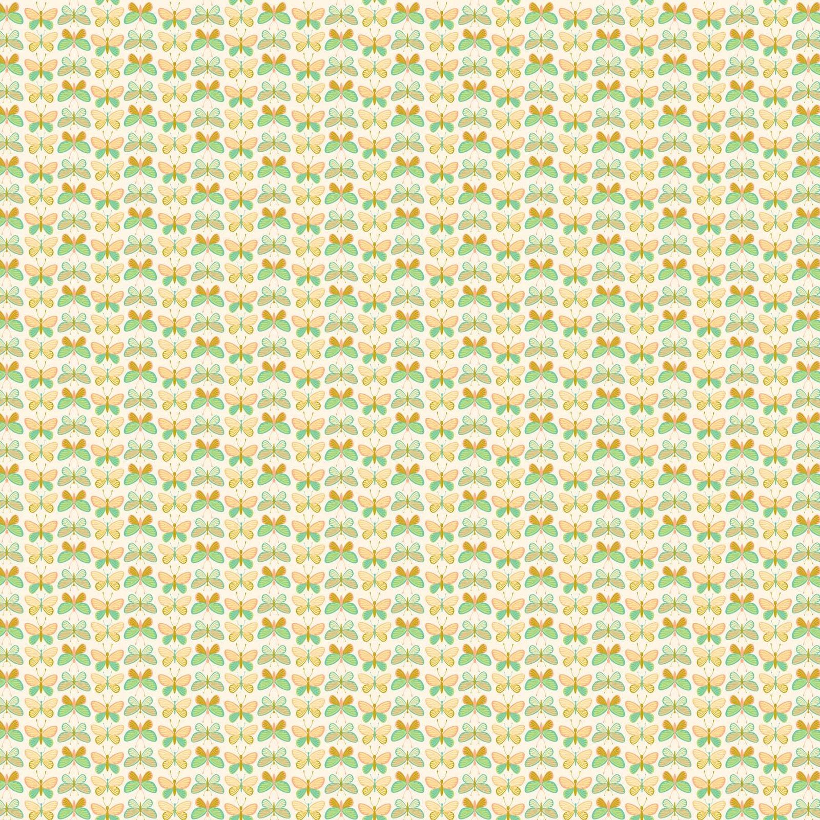 FIGO Fabrics Mountain Meadow BUTTERFLIES (Teal)