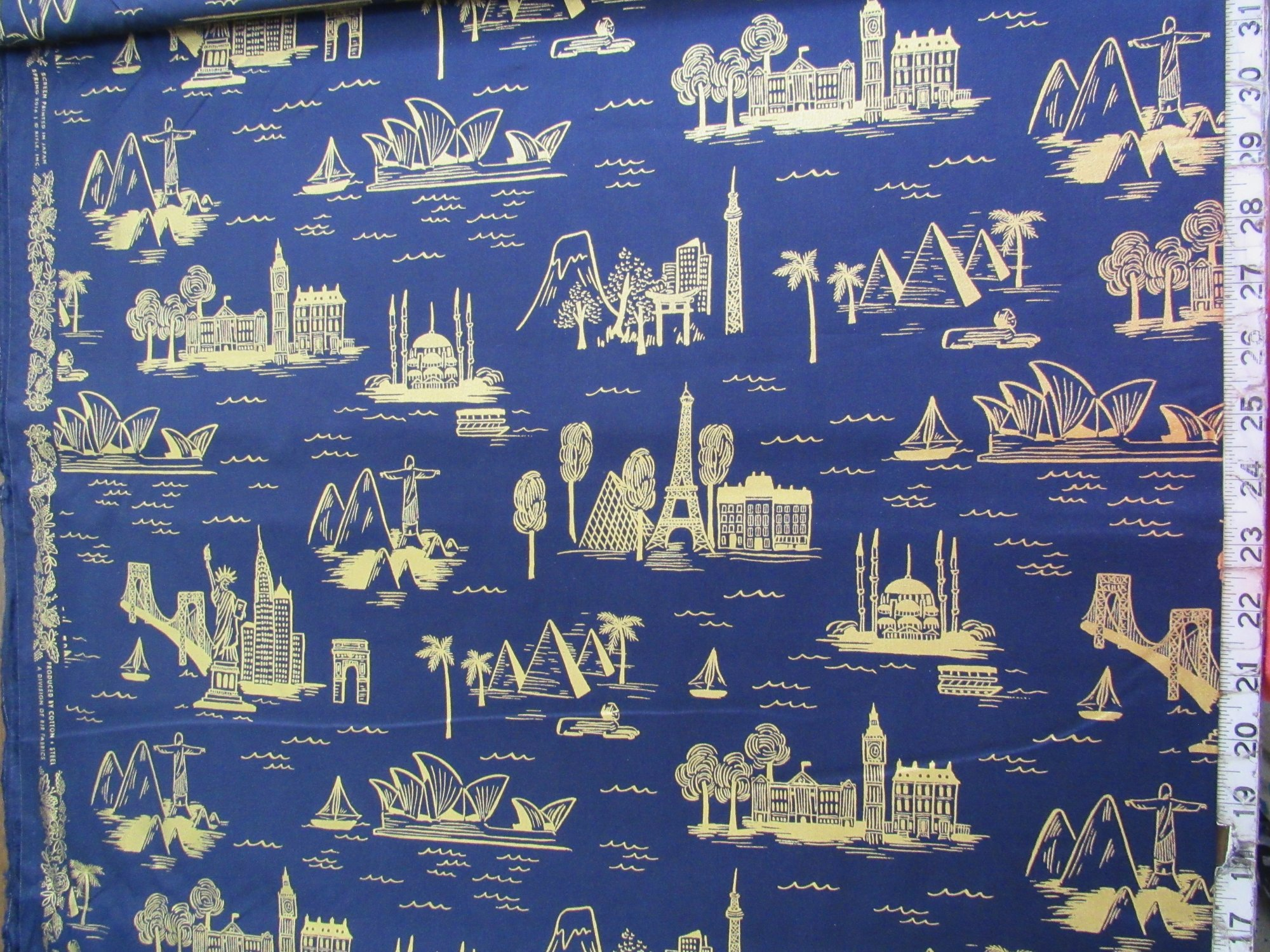 Cotton & Steel CITY TOILE NAVY Les Fleurs by Rifle Paper Company