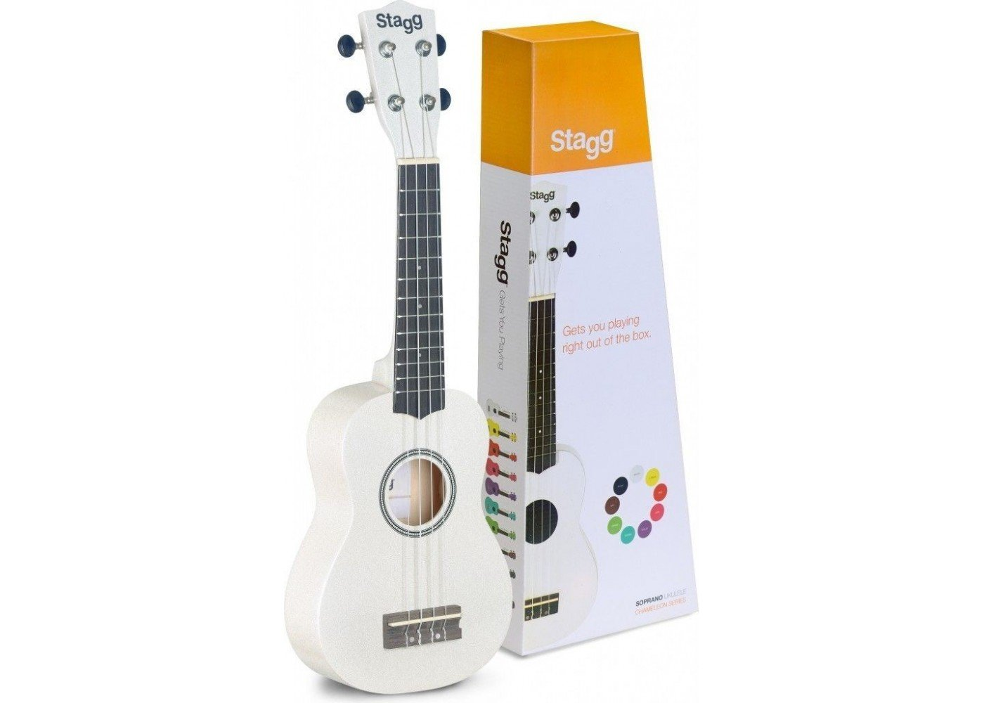 Stagg Soprano Ukulele - White - w/Bag