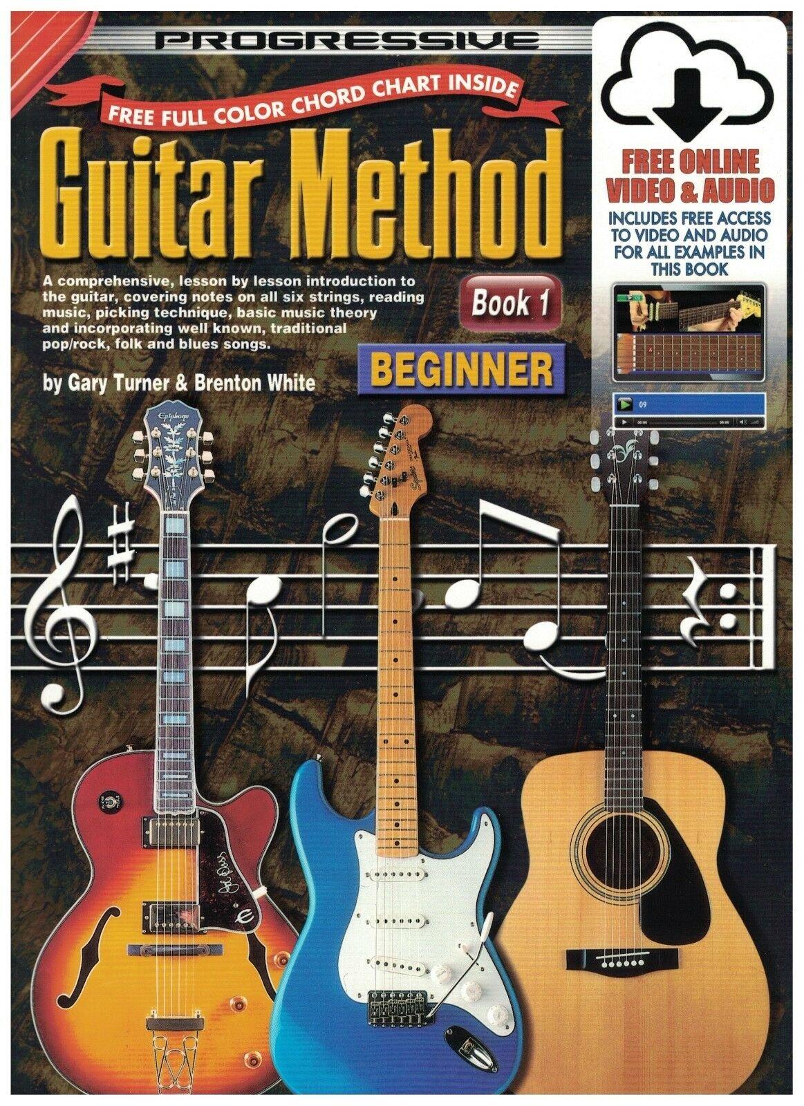 Progressive Guitar Method Book 1 Beginner w/Free Online Video & Audio
