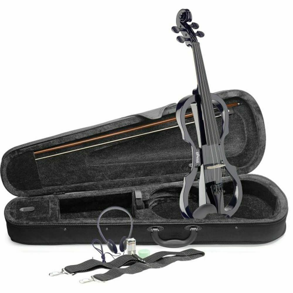 Stagg EVN X-4/4 Electric Violin Set w/Case & Headphones - Metallic Red