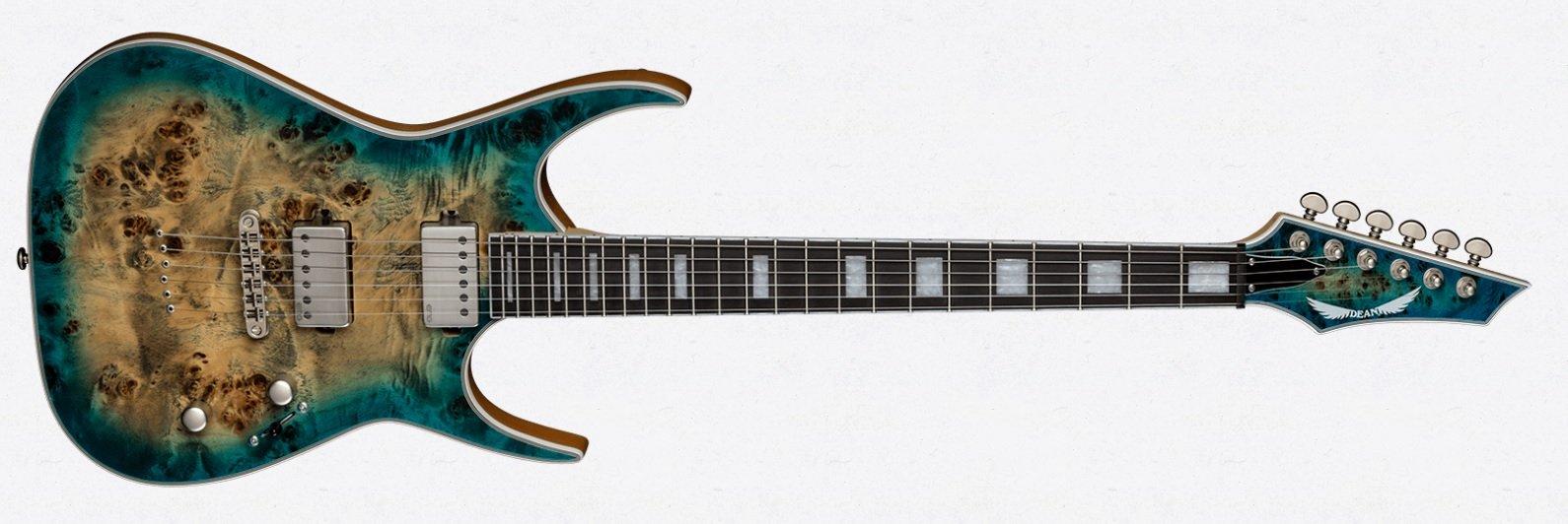 Dean Exile Select Electric Guitar - Burled Poplar - Satin Turquoise Burst