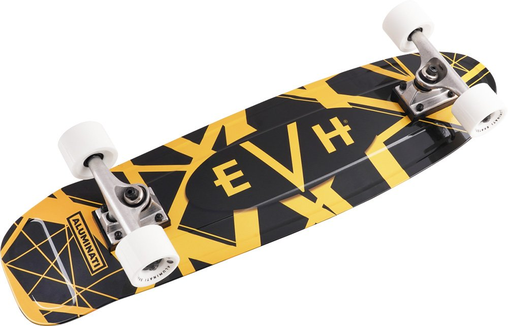EVH Mini Cruiser Skateboard - Yellow and Black Stripes
