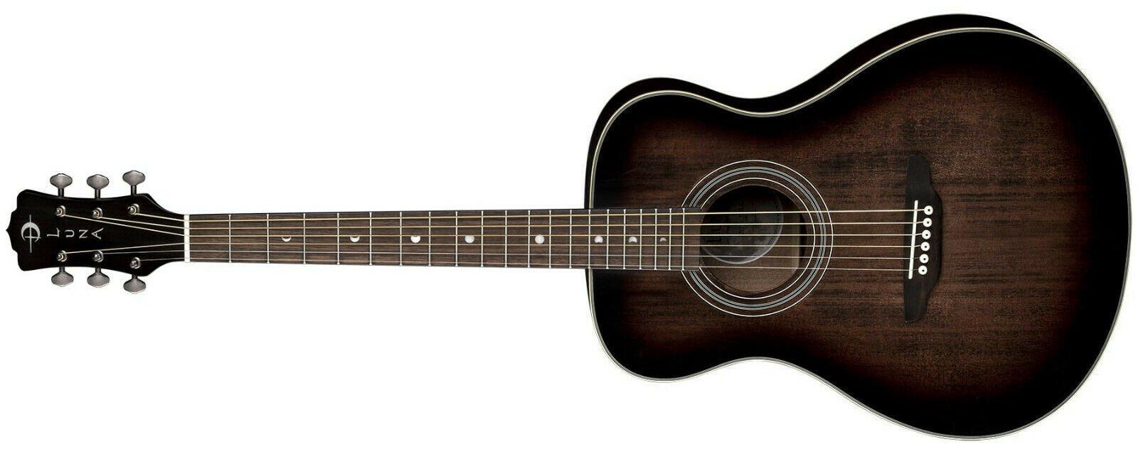Luna Art V Folk Left Handed Acoustic Guitar Distressed Vintage Brownburst