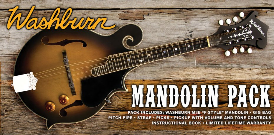 Washburn M3EK F Style Pack with pickup Acoustic Electric Mandolin Pack Sunburst