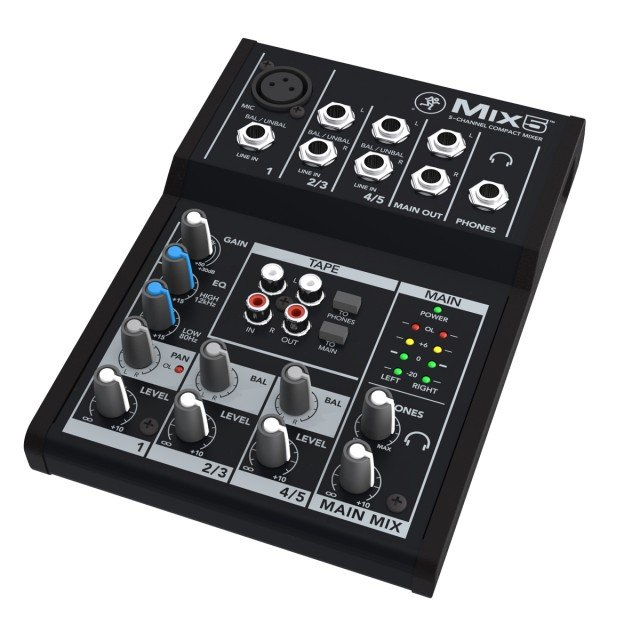 Mackie Mix Series Mix5 -Watt 5-Channel Mixer , Black