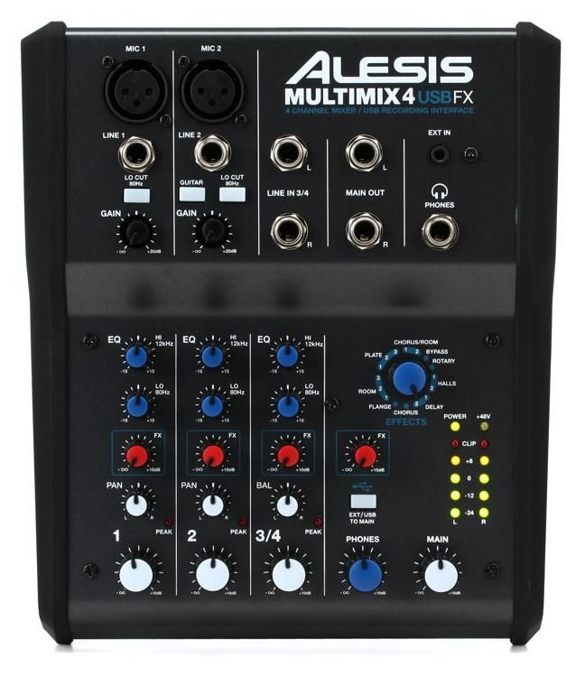 Alesis 4-Channel Mixer With Effects & USB Audio Interface