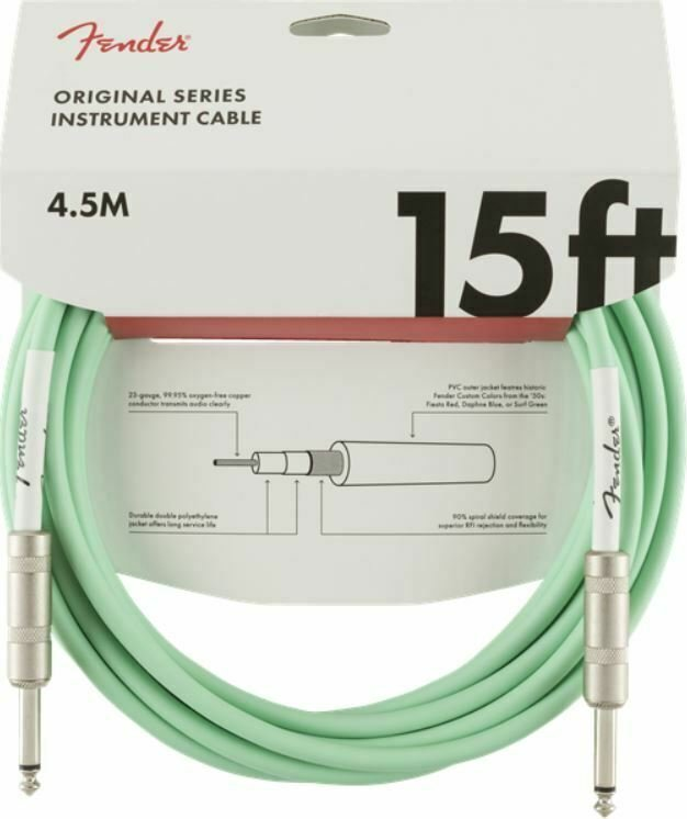 Fender Original Series Instrument Cable, Straight, 15' - Surf Green