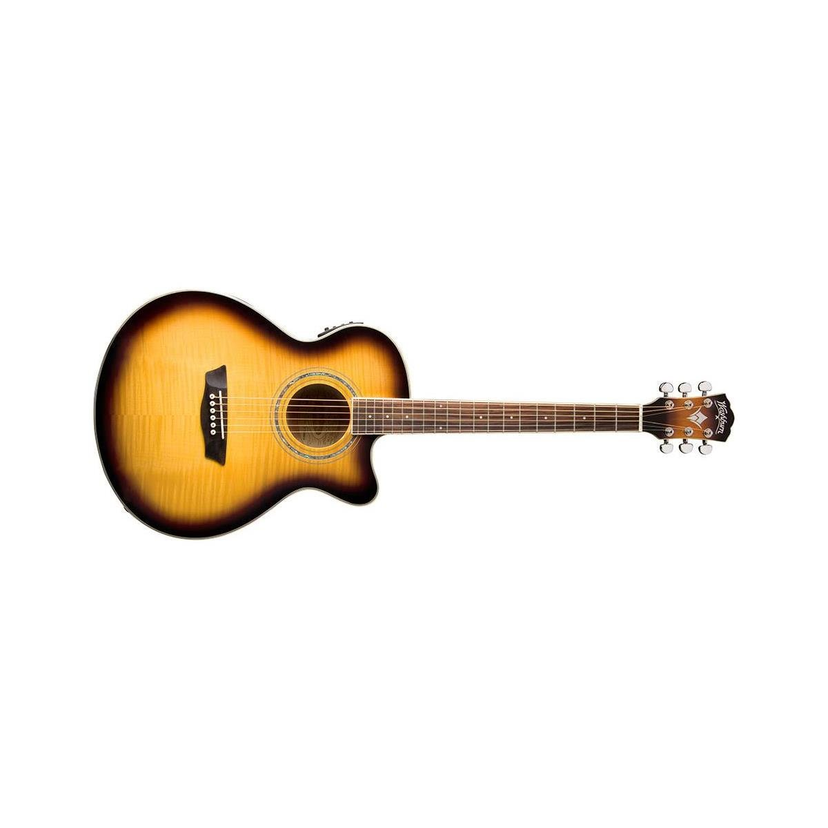 Washburn Festival Series EA15ATB Mini Jumbo Cutaway Acoustic Guitar with Flame Maple Top, Catalpa Back and Sides, 21 Frets, Mahogany with 2 Way Trussrod Neck, EQ4-T Preamp, Gloss, All Tobacco Burst